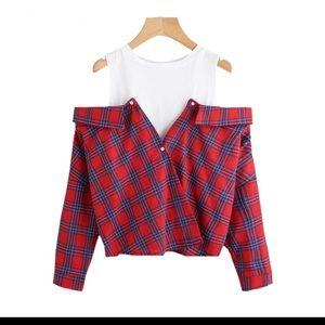 Tops - Open shoulder plaid shirt